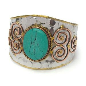 NEW boho handmade turquoise bangle bracelet